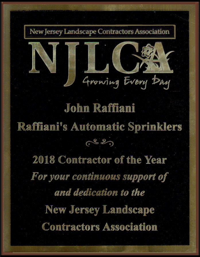 Raffiani's Licenses And Associations Show Lawn Sprinkler Excellence