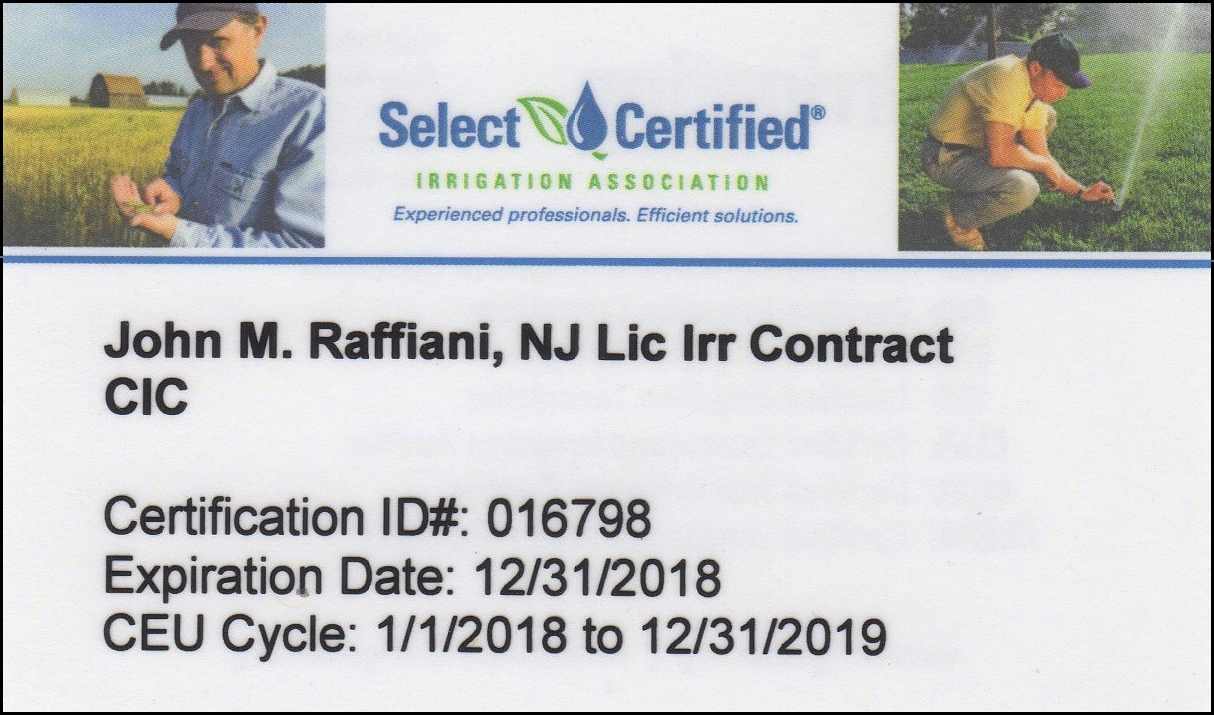 Raffianis licenses and associations show lawn sprinkler national certified irrigation contractor id 016798 xflitez Choice Image