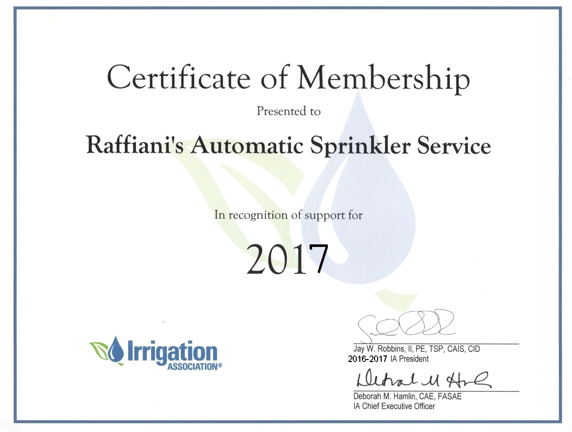 Raffianis licenses and associations show lawn sprinkler irrigation association member certificate click here for a larger image xflitez Choice Image
